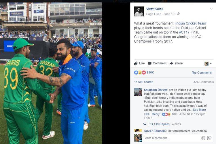Virat Kohli, Facebook, Pakistan players