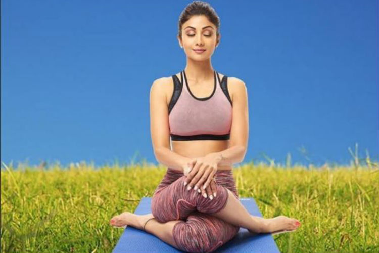 Shilpa Shetty Kundra practising yoga