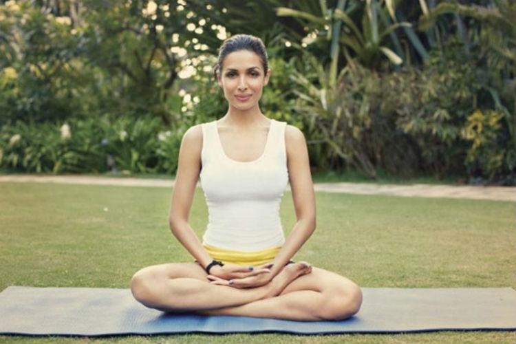 Malaika Arora practising yoga