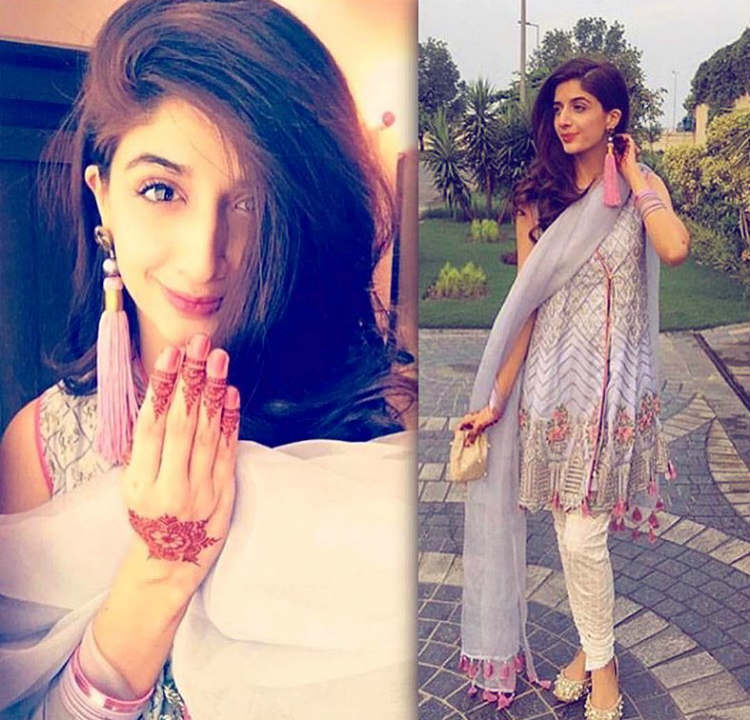 Mawra Hocane in silk tassel earrings