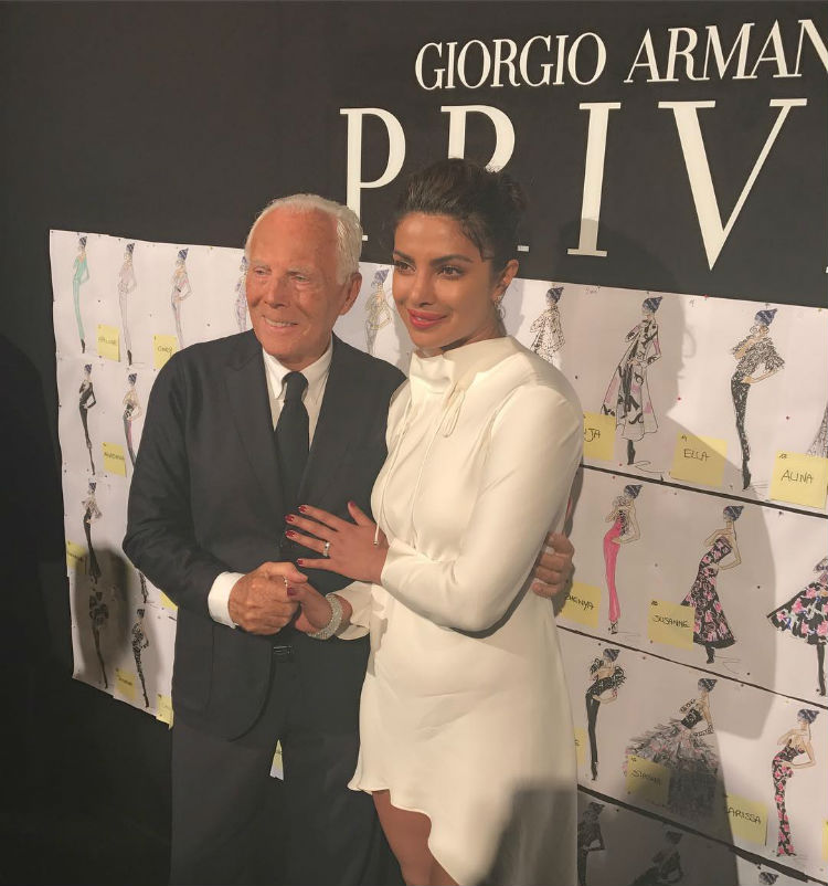 Priyanka Chopra with Giorgio Armani in Paris