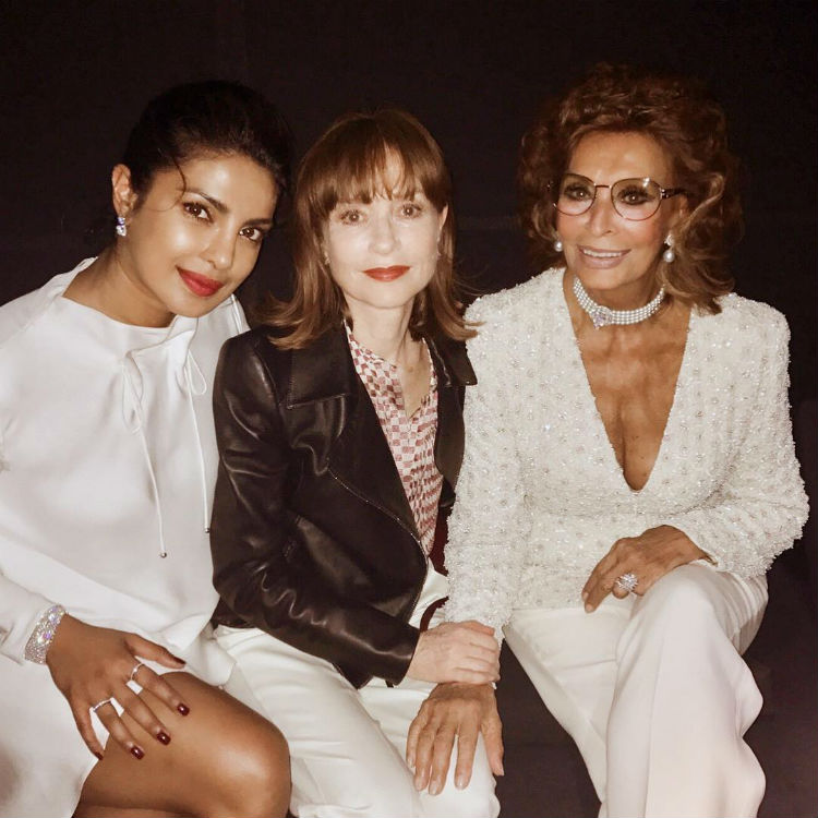 Priyanka Chopra with Isabelle Huppert and Sophia Loren in Paris