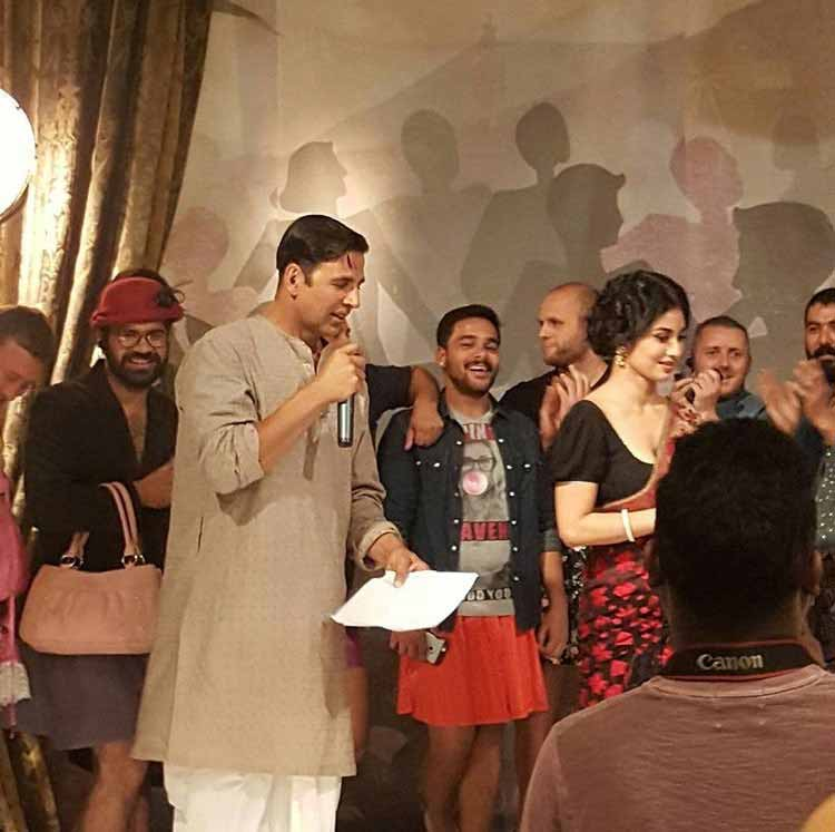Akshay Kumar and Mouni Roy on the sets of Gold