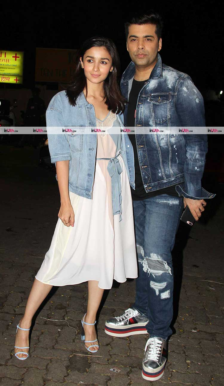 Alia Bhatt and Karan Johar in their denim looks