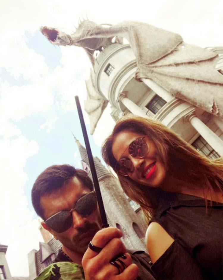 Bipasha Basu and Karan Singh Grover at the Wizarding World of Harry Potter