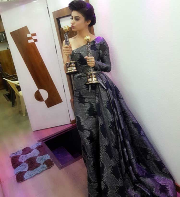Mouni Roy with her Zee Gold Awards trophies