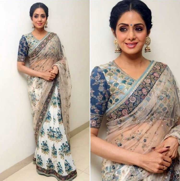 Sridevi looks ethereal in Sabyasachi saree for Mom promotions