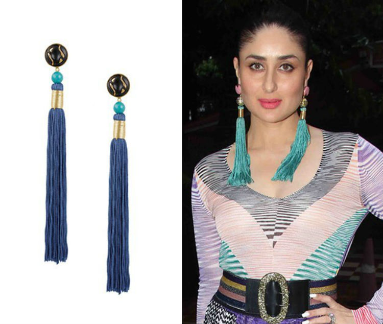 Kareena Kapoor in silk tassel earrings