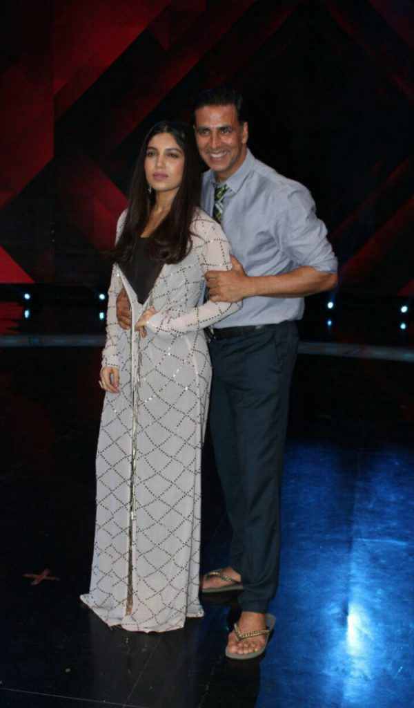Akshay Kumar and Bhumi Pednekar on the promotions of Toilet Ek Prem Katha