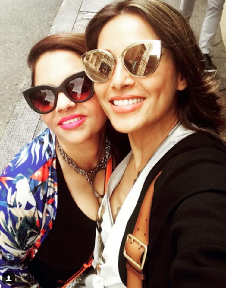 Bipasha Basu meets her friend in New York City