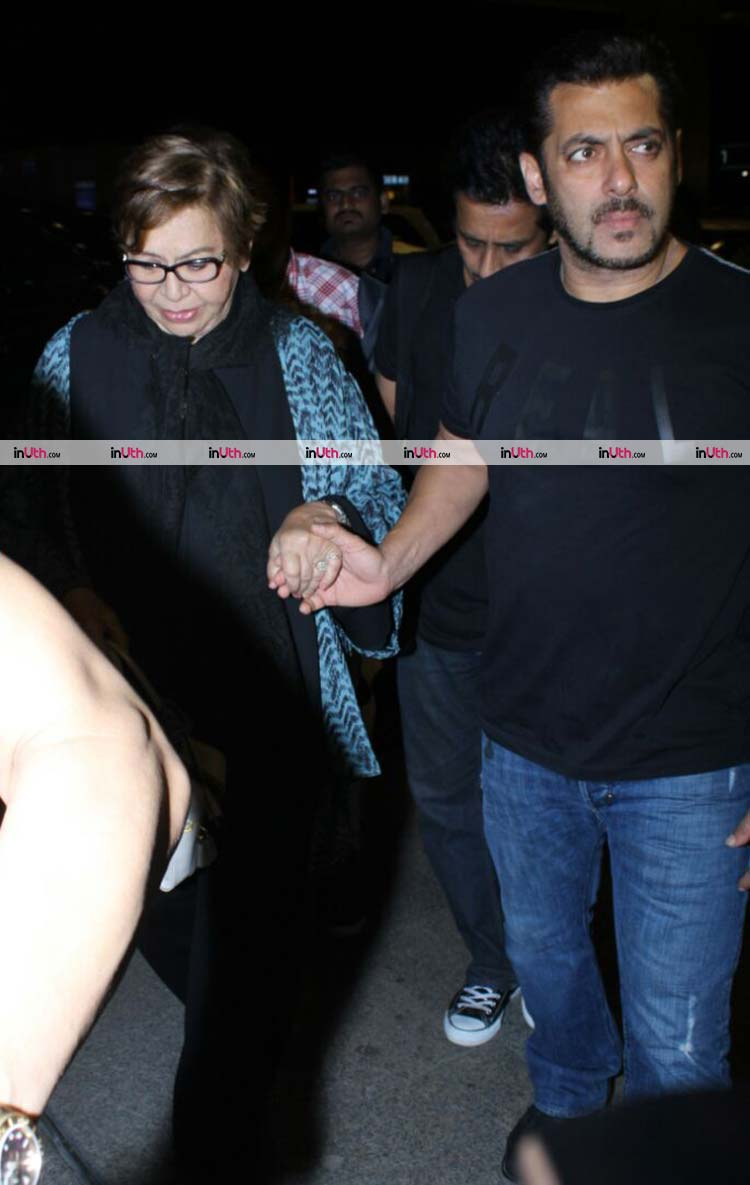 Salman Khan with mother Helen at airport before IIFA 2017