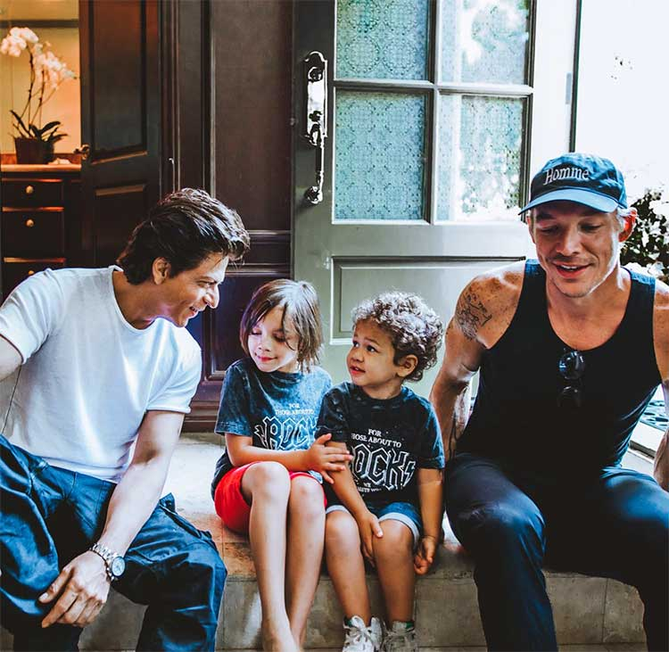 Shah Rukh Khan meets DJ Diplo's children