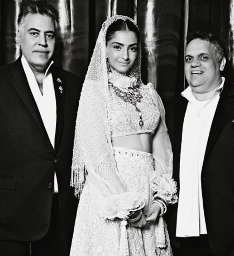 Sonam Kapoor with Abu Jani and Sandeep Khosla
