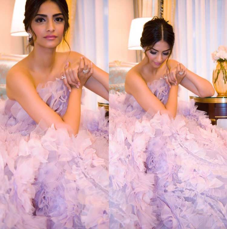 Sonam Kapoor's look for Ralph and Russo after party at Paris Fashion Week