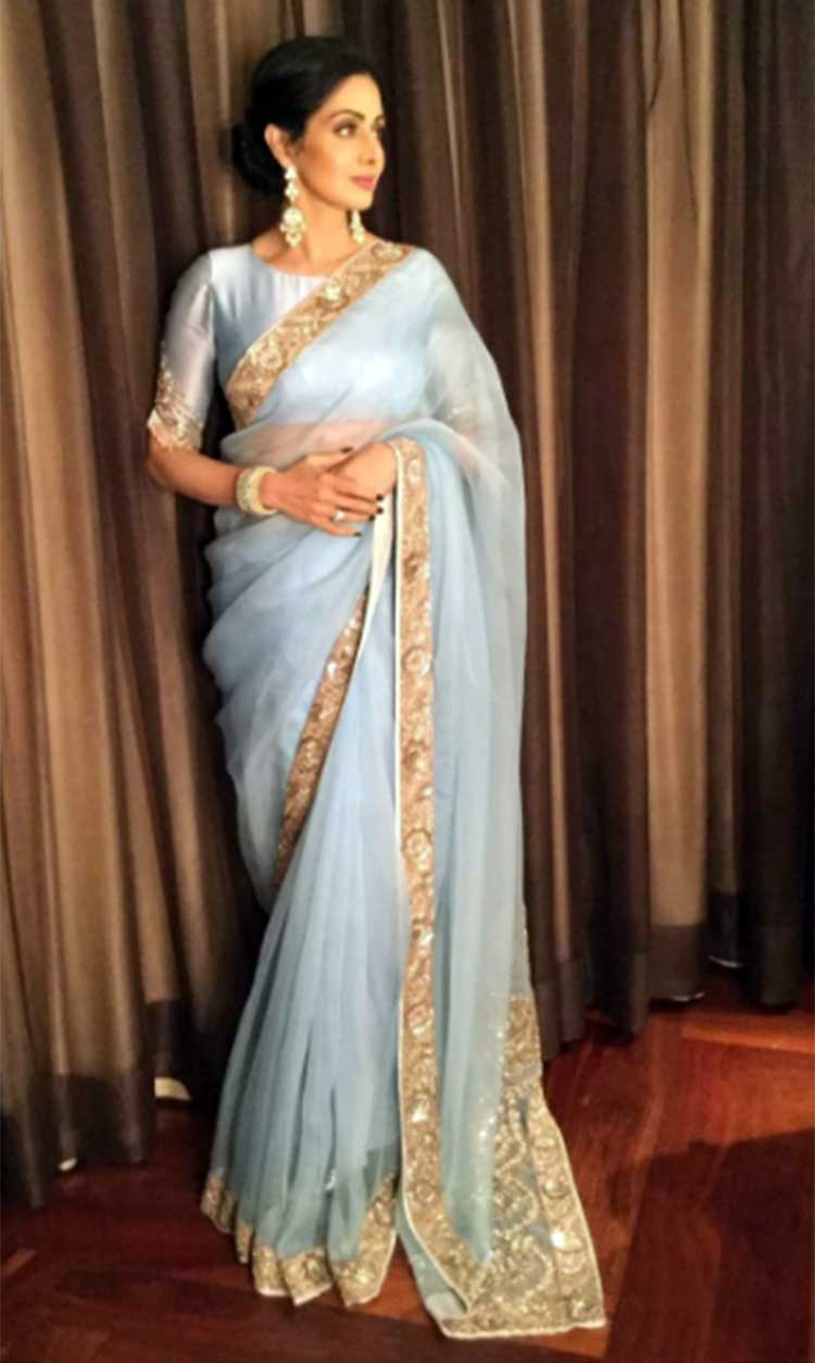 Sridevi's saree pick for Mom's Delhi promotion is beautiful