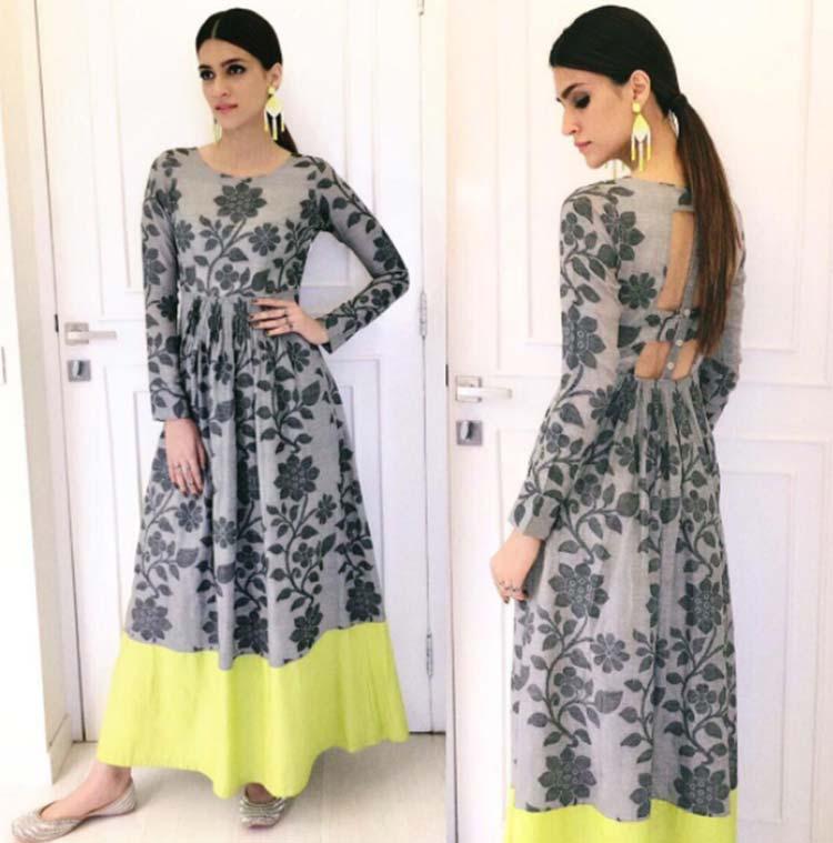 Kriti Sanon stunning in a hand-woven maxi dress for Bareilly Ki Barfi promotions