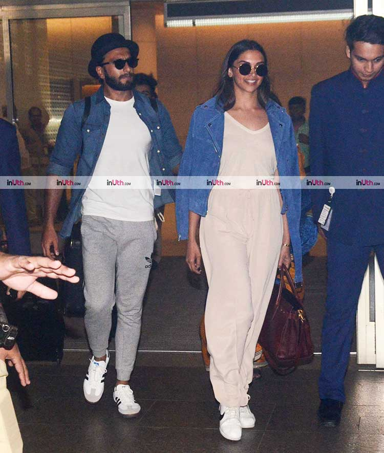 Deepika Padukone and Ranveer Singh exiting the airport on Sunday