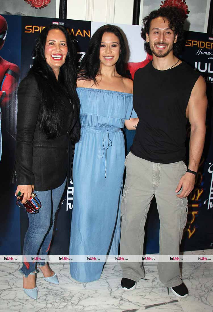 Tiger Shroff with Krishna and Ayesha Shroff at Spider-Man: Homecoming screening