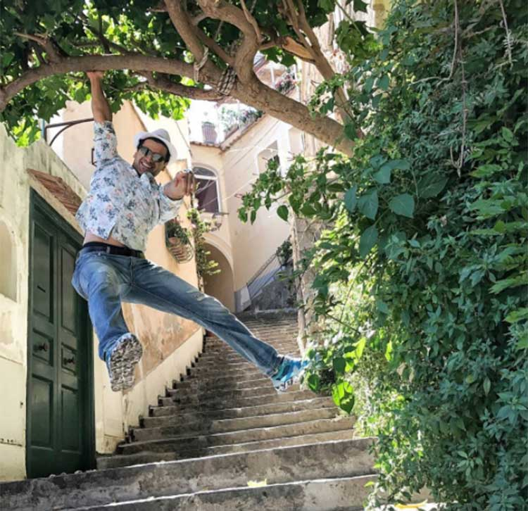 Vivek Dahiya monkeying around in Positano