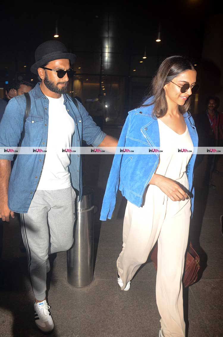 Ranveer Singh and Deepika Padukone twinning at the airport