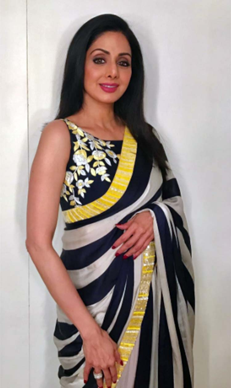 This saree of Sridevi from Mom promotions is youthful and pretty