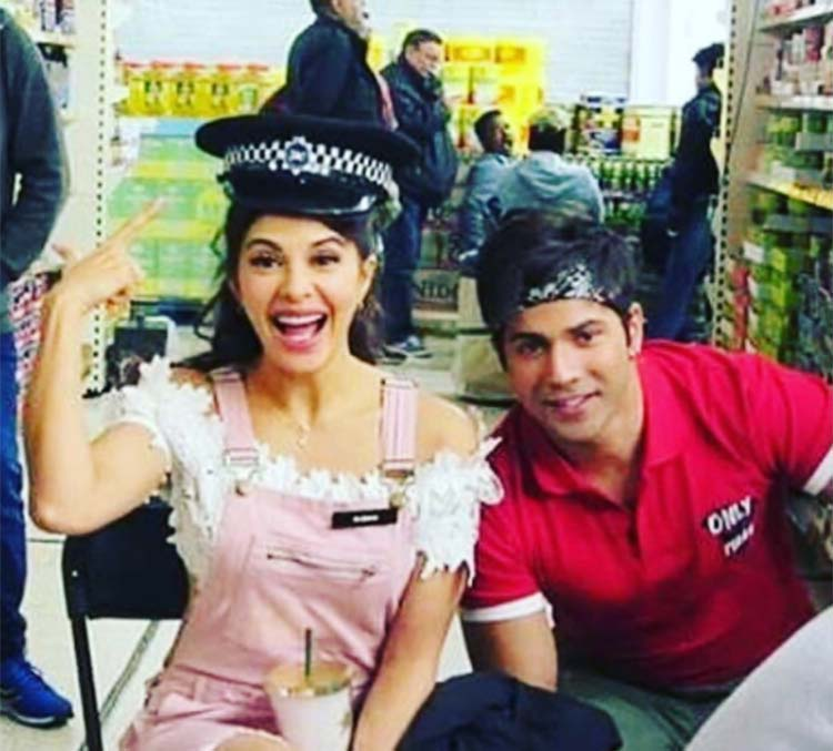 Varun Dhawan with Jacqueline Fernandez on the sets of Judwaa 2