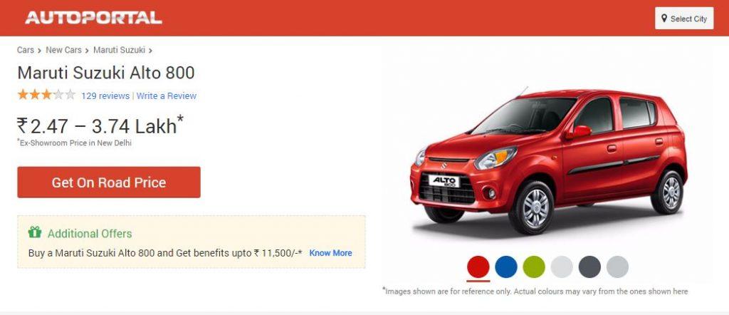 Alto 800 car price