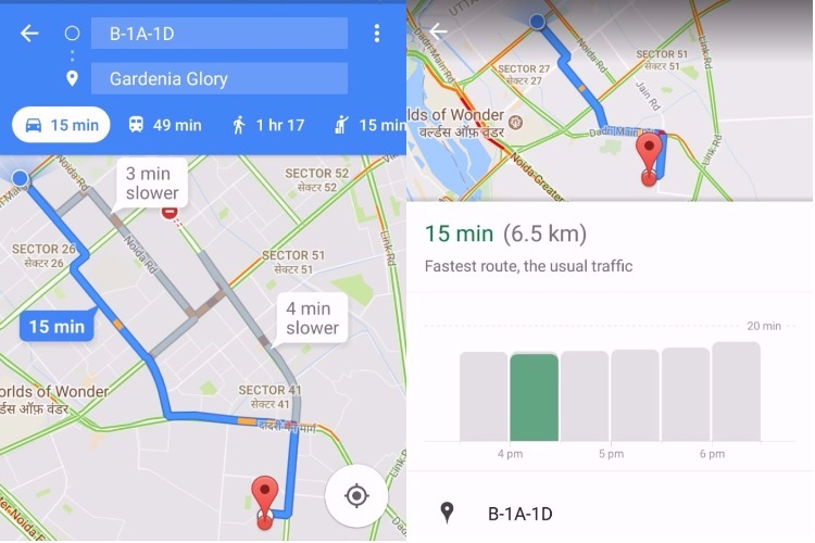 Google Maps tells you the best time to start your journey