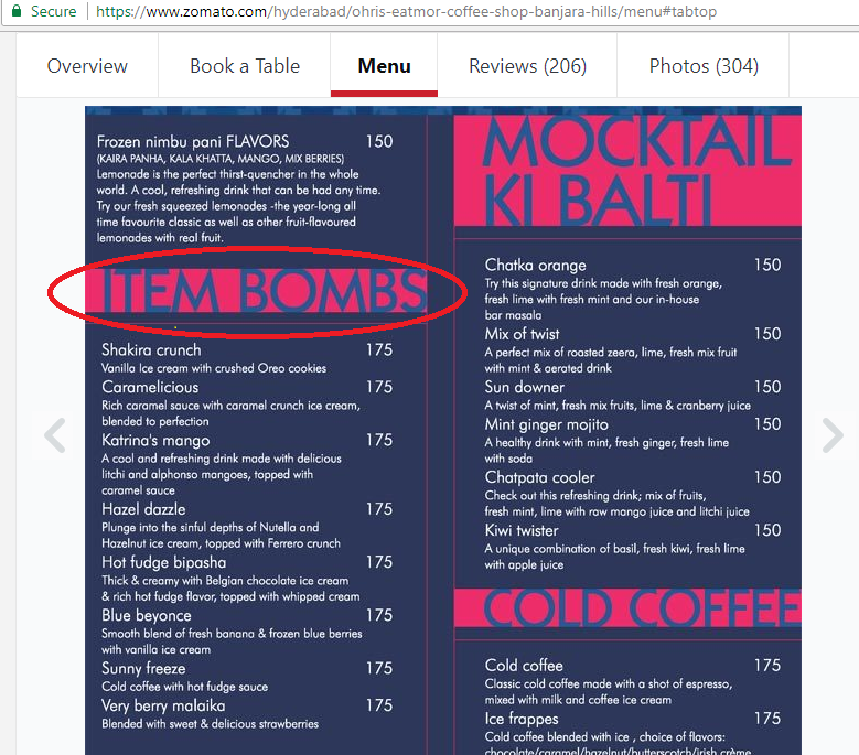 Hyderabad Cafe Menu