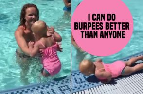 Burpee Baby, Burpees Baby, Fit baby, rambo baby, keeley, fitness, fitness goals, poolside, Idaho, ashley roberts, Instagram baby, Instagram, ashley roberts Instagram, toddler, toddler dong burpees, cute baby, fitness goals, viral video