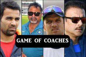 Ravi Shastri, Rahul Dravid, Bharath Arun, Zaheer Khan, Sanjay Bangar