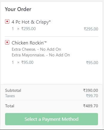 KFC New Bill From Zomato