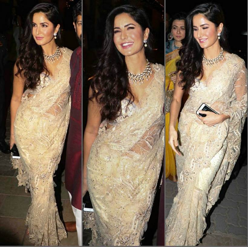 Katrina in Tarun Tahiliani Saree at Amitabh Bachchan's Diwali Party.