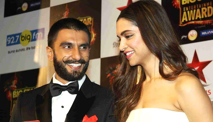 Ranveer Singh, Deepika Padukone at an award ceremony