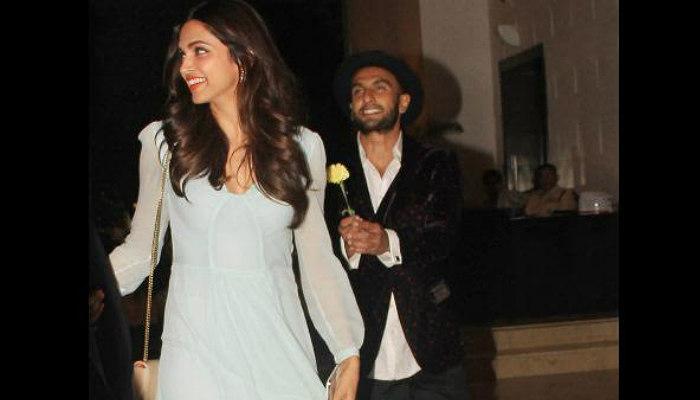 Ranveer Singh, Deepika Padukone at a party