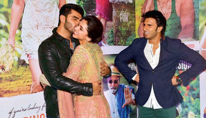 Ranveer Singh Deepika Padukone Arjun Kapoor at Finding Fanny event