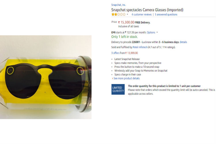e6325cafd3f2 Snapchat s popular  Spectacles  are now available on Amazon