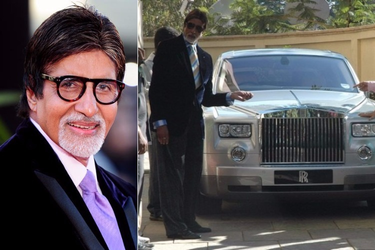 Amitabh Bachchan with the Rolls Royce gifted by Vidhu Vinod Chopra