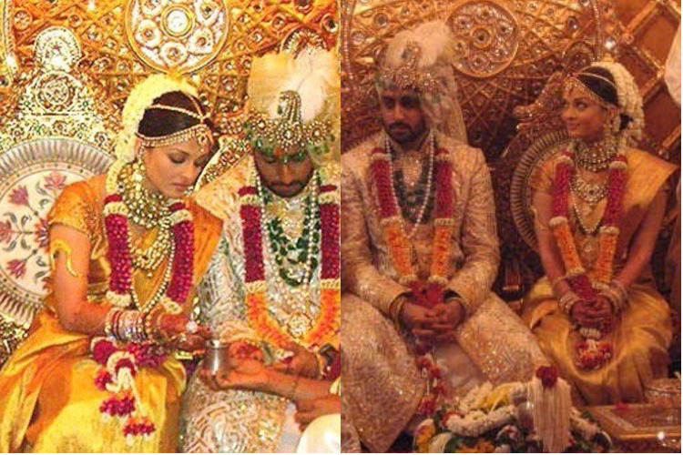 Aishwarya Rai and Abhishek Bachchan during their marriage ceremony