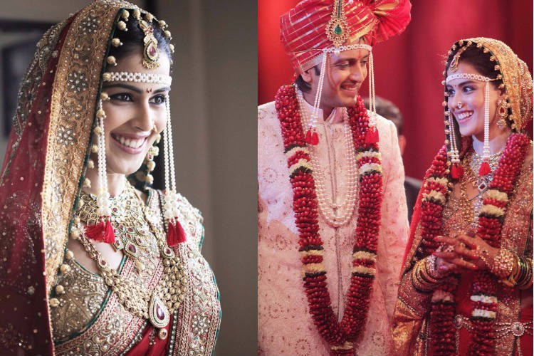 Genelia D'souza in her Mahrastrian style wedding outfit