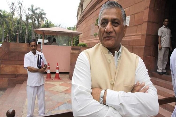 VK Singh at Parliament House on Thursday. Express Photo by Praveen Jain. 31.07.2014.