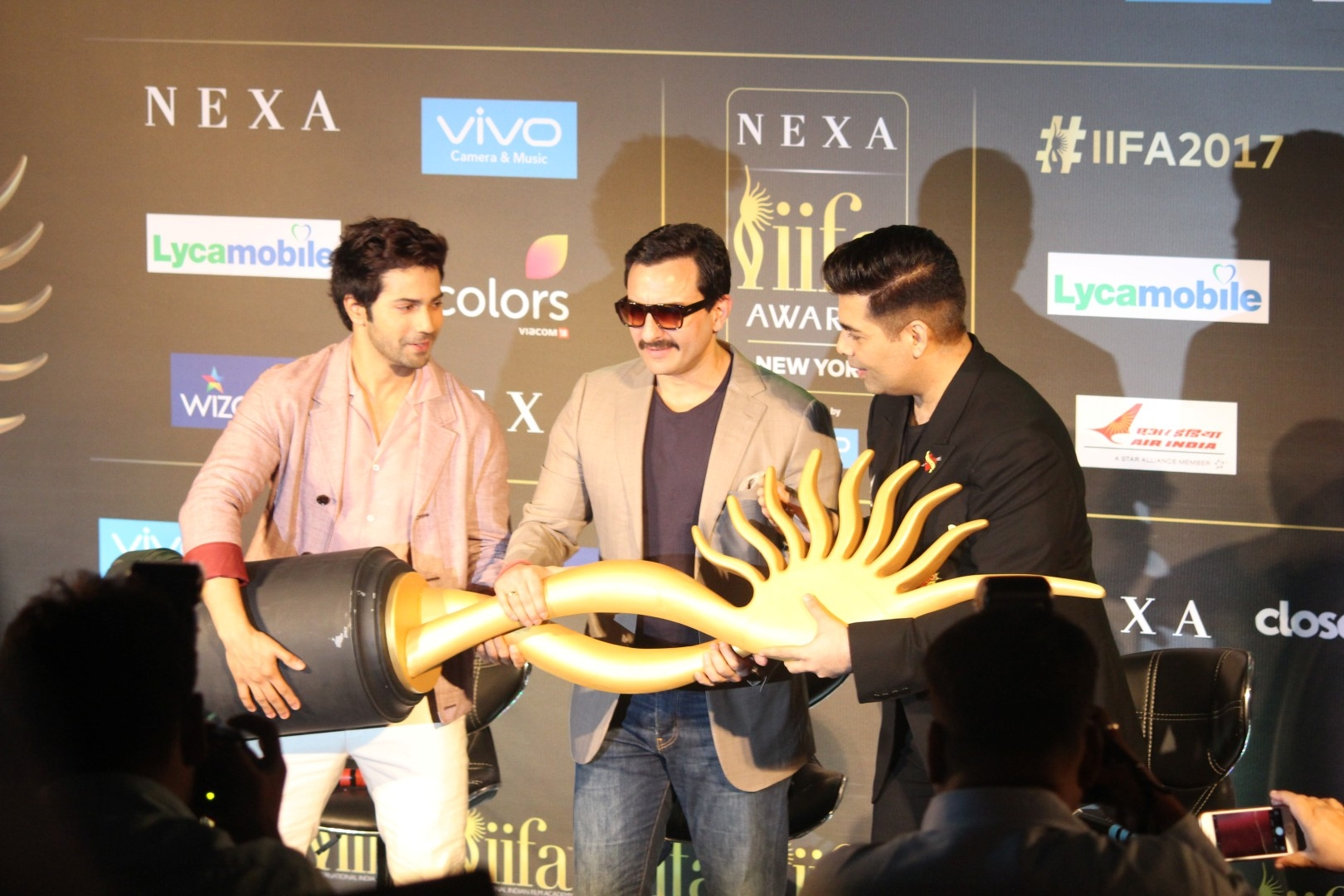 Varun Dhawan, Saif Ali Khan and Karan Johar at IIFA Award PC