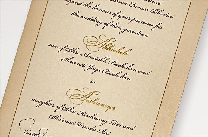 Wedding invite - Abhishek Bachchan and Aishwarya Rai