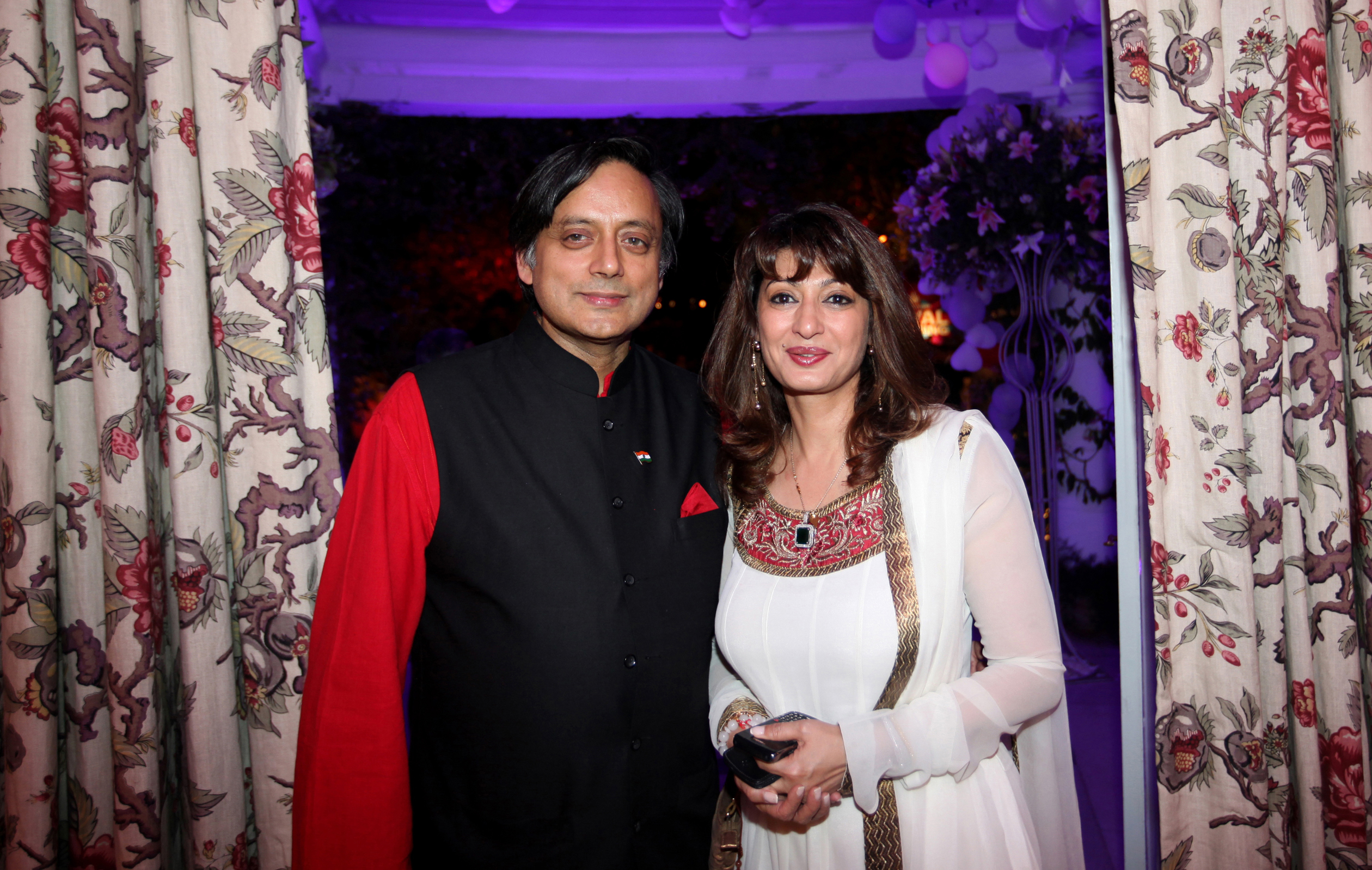 Shashi Tharoor and Sunanda at the party to celebrate the British Royal Wedding at the British High Commissioner's house in New Delhi on Friday. Express photo by Oinam Anand. 29 April 2011