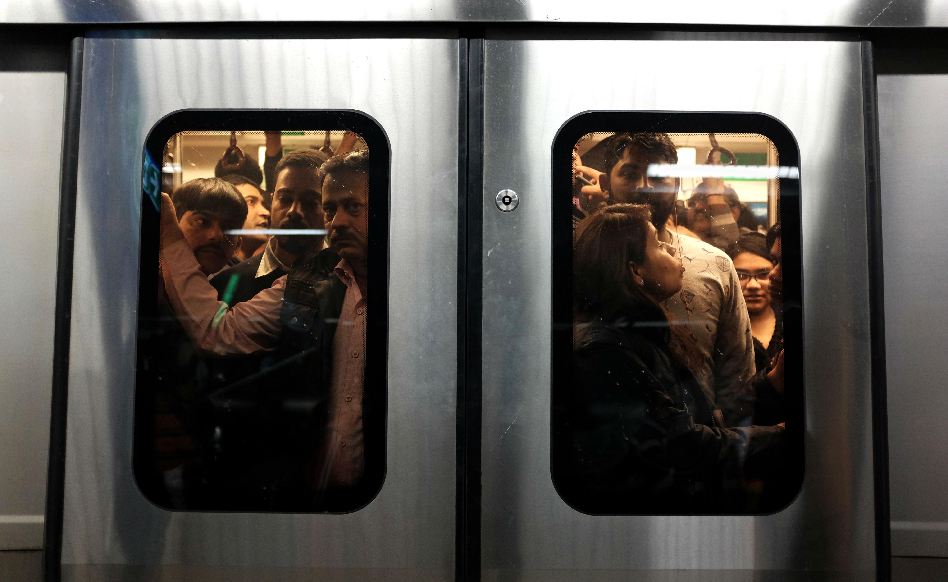 Rush hour in Delhi Metro