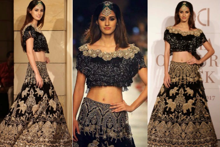 Disha Patani looks stunningly gorgeous in black royal lehenga as she walks at the India Couture Week2017