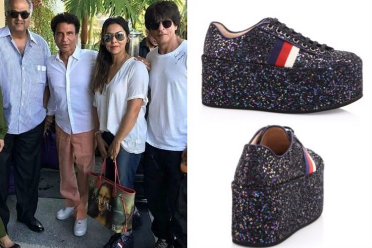 Gauri Khan with Shah Rukh Khan and Boney Kapoor wearing Gucci sneakers