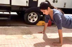Katrina Kaif doing push-ups