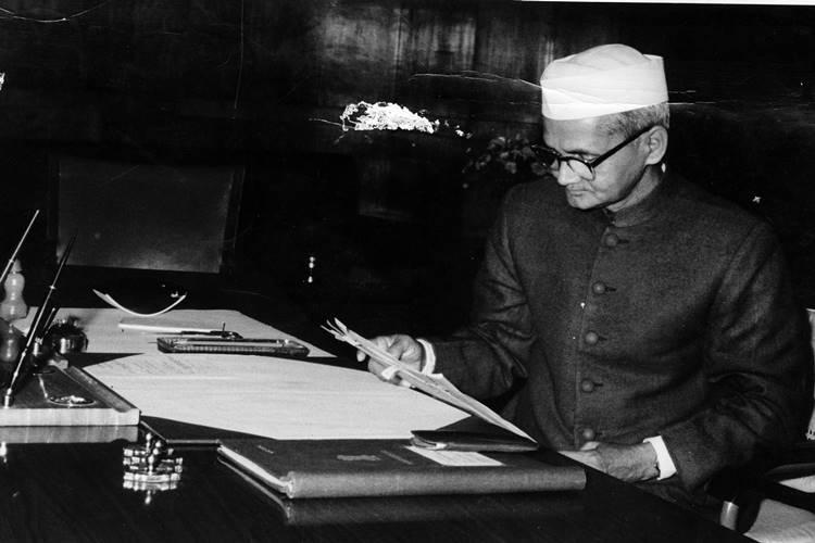 Prime Minister Lal Bahadur Shastri at work in his office room. Express archive photo