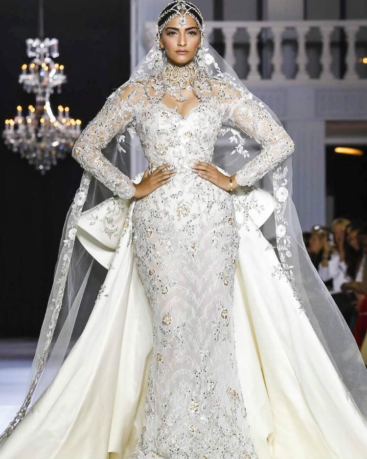 Sonam Kapoor for Ralph and Russo at the Paris Fashion Week